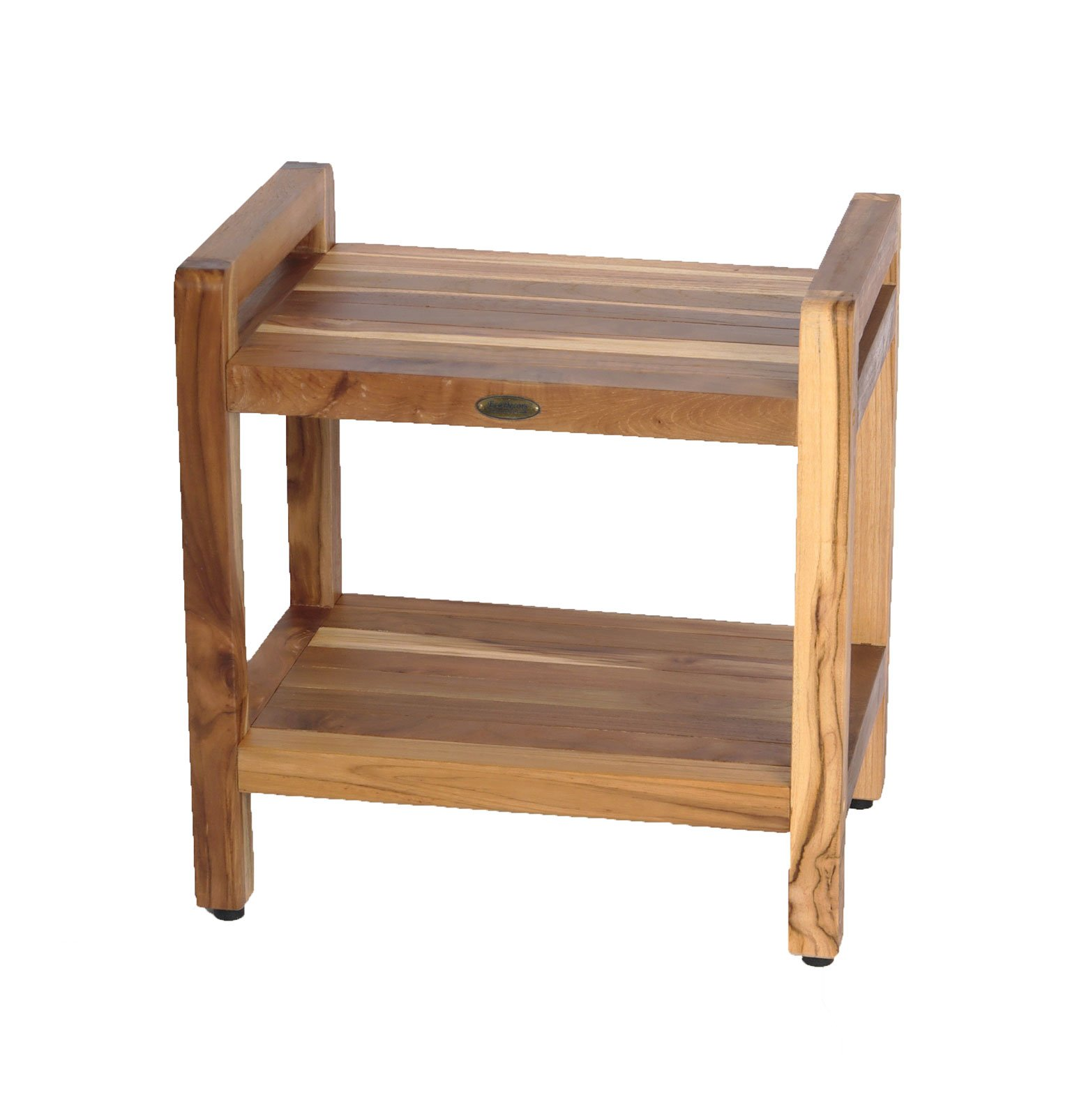 20'' EcoDecors EarthyTeak™ Teak Shower Bench with Shelf and Ergonomic Lift Aid Arms by EcoDecors