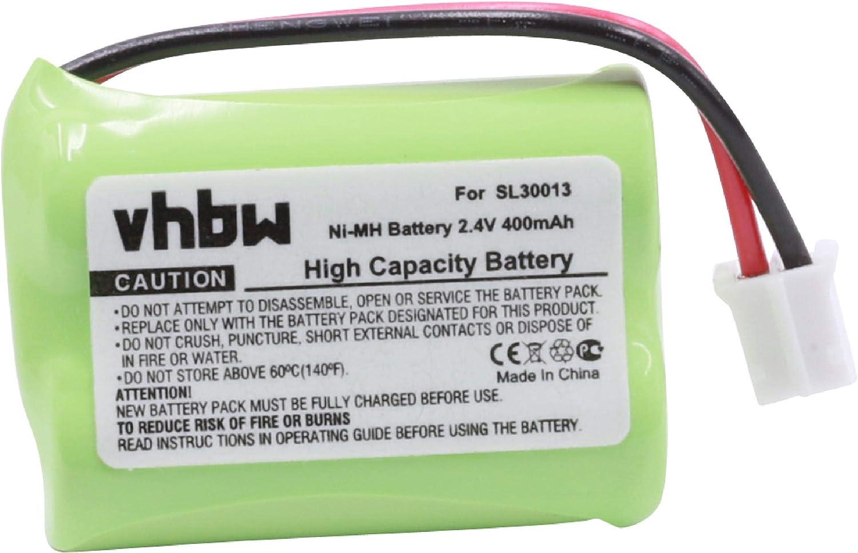 vhbw NiMH batería 400mAh (2.4V) para teléfono Fijo inalámbrico Audioline DECT 7500, 7500 Micro, 7501, 7800, 7800B, 7801 sustituye SL30013, PX1712-944