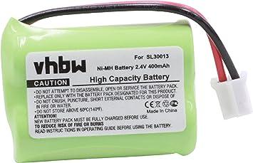 vhbw NiMH batería 400mAh (2.4V) para teléfono Fijo inalámbrico Switel MD 9300, 9500, 9600 sustituye SL30013, PX1712-944, PX3904-944: Amazon.es: Electrónica