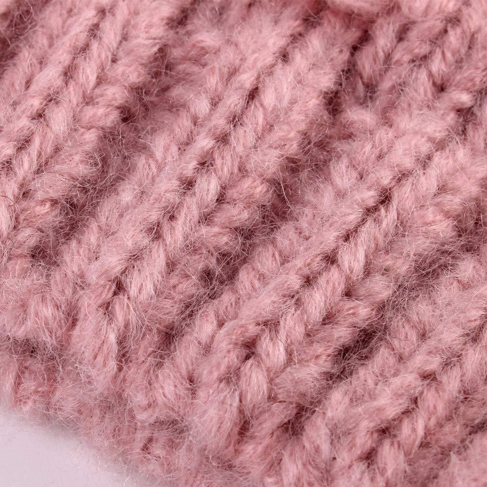 Vinjeely Toddler Baby Girls Solid Color Knitting Pompom Winter Warm Hat Headwear Unisex Baby Girls Beanie Cap