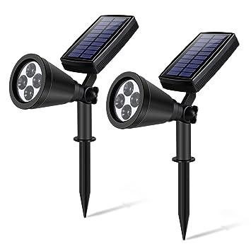 Luz Solar YIPIN Foco Solar de 4 LED, Focos led exterior de con Sensor de