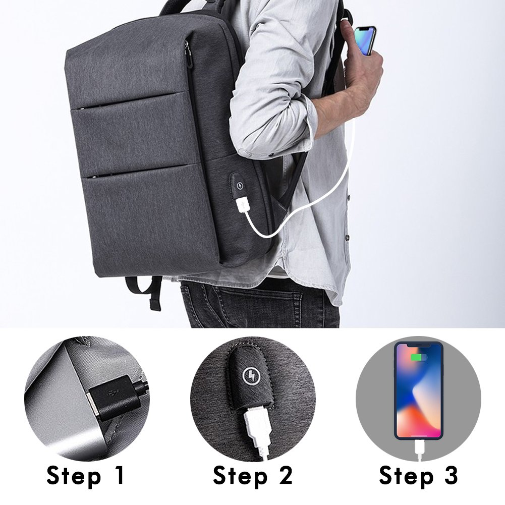 Laptop Backpack for Business Travel Backpack Fit 15 inch Outdoors Large Capacity 60 Degrees Extended with USB Charging Port Anti Theft Water Resistant Padded Straps without Shock for Men Women, Black by Nuheby (Image #3)