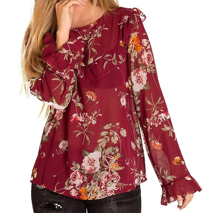 CHIC&CASUAL Blusa con Estampado Flores en Colores Verde y Rojo (Roja): Amazon.es: Ropa y accesorios