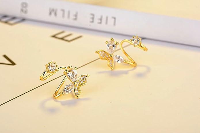 5737647c272b Joyería Gnzoe Pendientes Mujer 1 Par Oro Circonio Clip de Oreja Pendiente  925 Plata Piercing Falso Clips de Oído  Amazon.es  Joyería