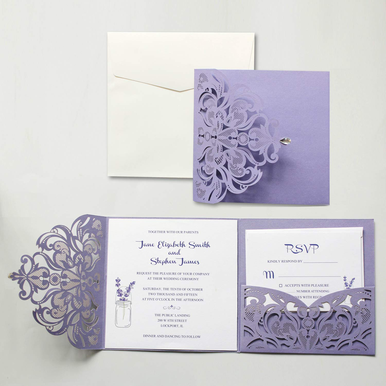 Amazon Picky Bride Purple Wedding Invitation With Rsvp And Envelopes Elegant Invite Set Of 50pcs Health Personal Care: Purple Wedding Invitation Card At Websimilar.org