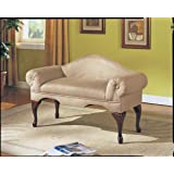 ACME Aston Biege Microfiber Bench with Rolled Arm