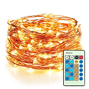 Moobibear LED Decorative Fairy String Lights 33ft 100 LEDs Dimmable Outdoor/Indoor Starry String Lights, Warm White Copper Lights with Remote Control for Garden Room Patio Party Christmas (33ft)