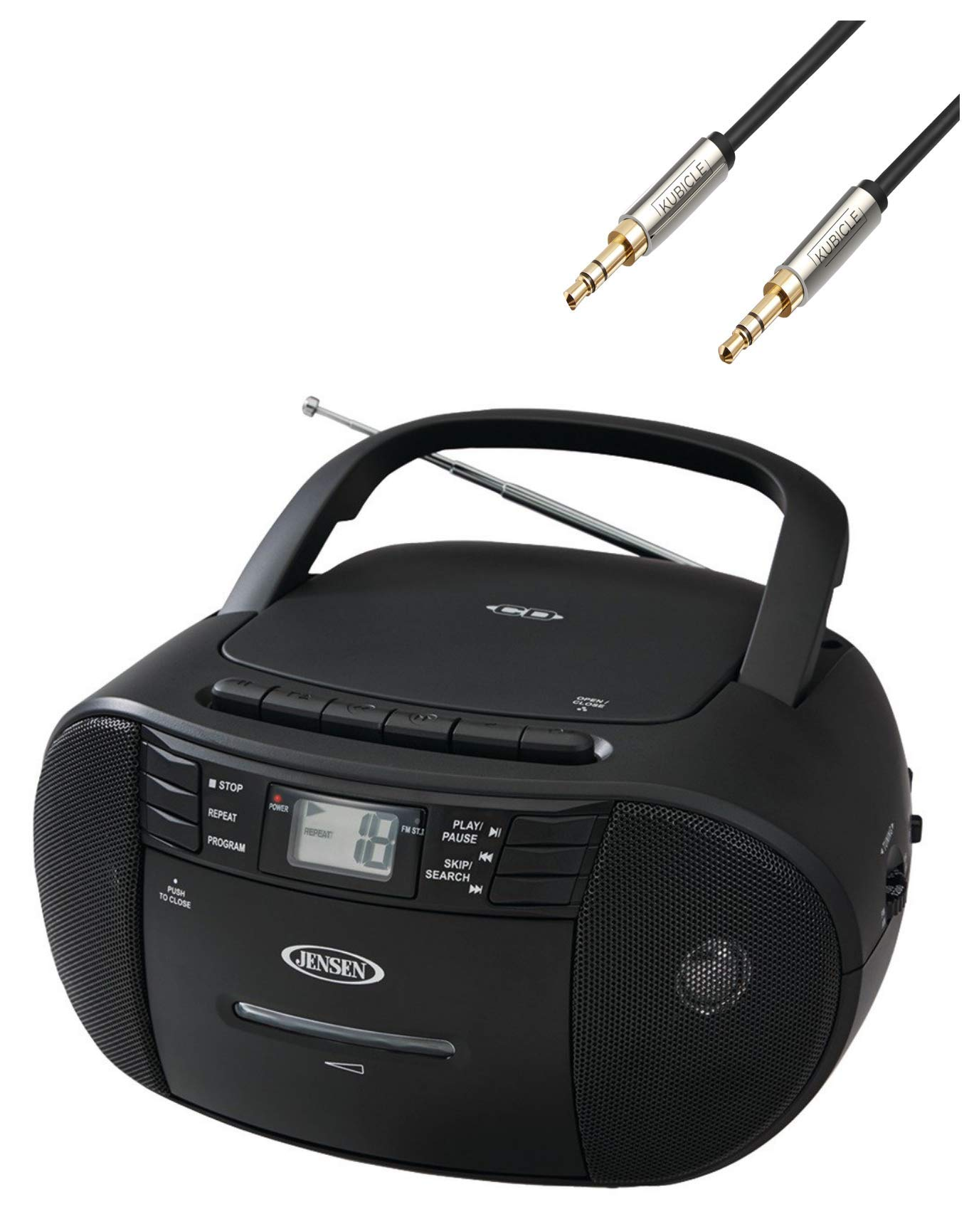 Jensen Portable Stereo CD Cassette Recorder with AM/FM Radio Plus 6ft Kubicle Aux Cable Bundle