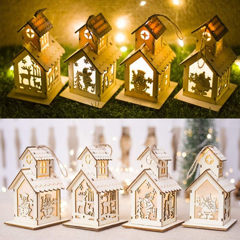 GOBEAUTY Christmas Decorations, LED Light Wood House, Christmas Tree Hanging Ornaments,Festival Gift Wedding Decoration (4pcs Large)