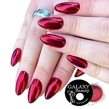 Galaxy Beauty Polvo Para Uñas Cromado Color Rojo