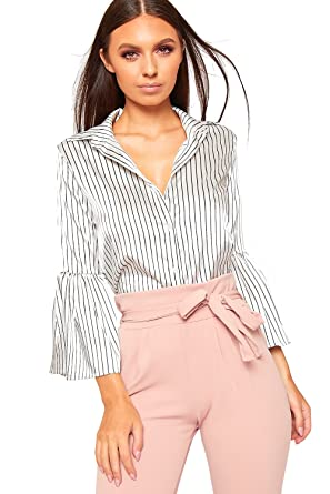 033b7e747b WearAll Women s Satin Striped Print Button Long Flare Bell Sleeve Shirt  Ladies Collar Top 6-14  Amazon.co.uk  Clothing