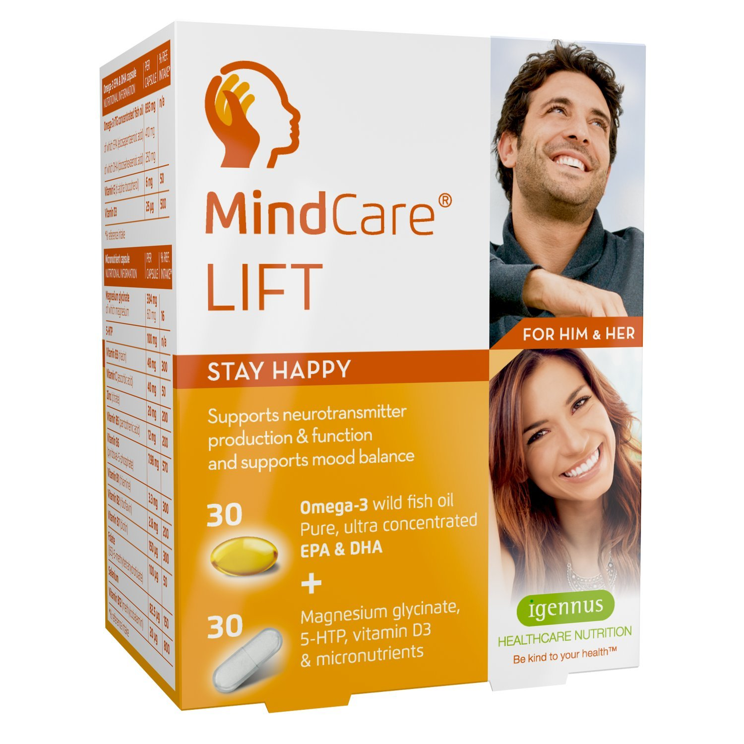 MindCare Lift Stay Happy – Mood Support Capsules with Omega-3 Fish Oil, Magnesium, 5-HTP & Multivitamins, 60 Count