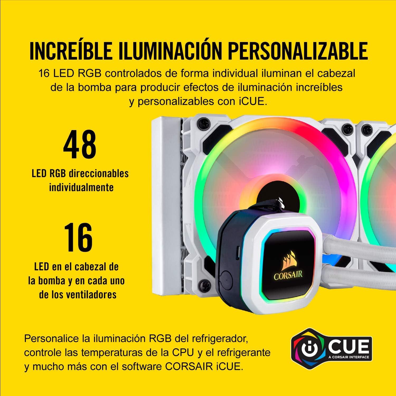 Corsair Hydro Series 100i RGB Platinum SE Refrigerador Líquido con Radiador de 240 mm, Dos LL120 RGB PWM Ventiladores, Iluminación RGB, Control de ...
