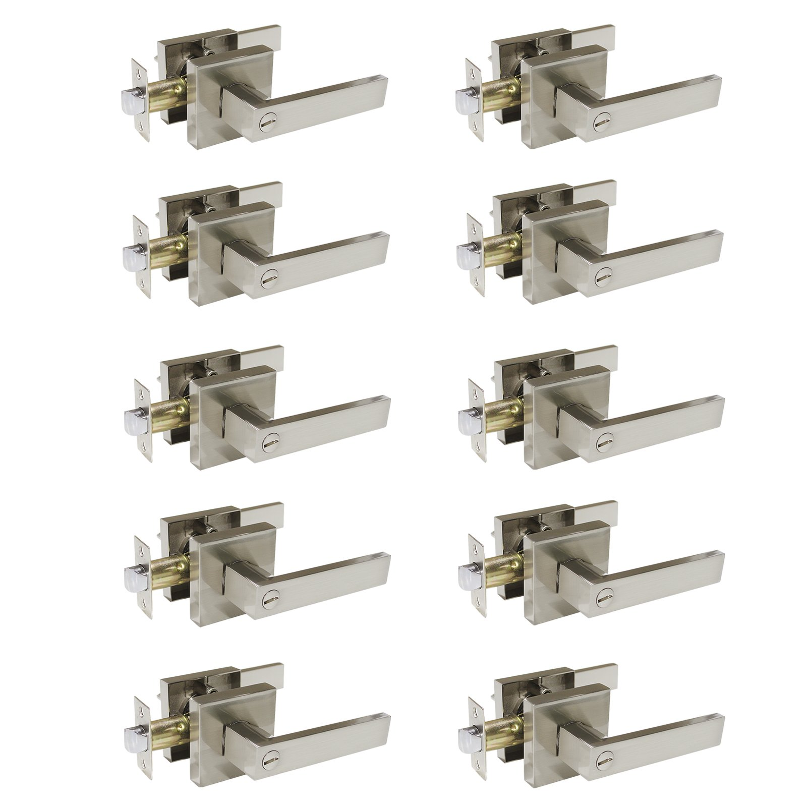 Gobrico Bedroom Bathroom Door Handle Lever with Square Plate Interior Privacy Door Lock in Satin Nickel 10Pack by Gobrico (Image #1)