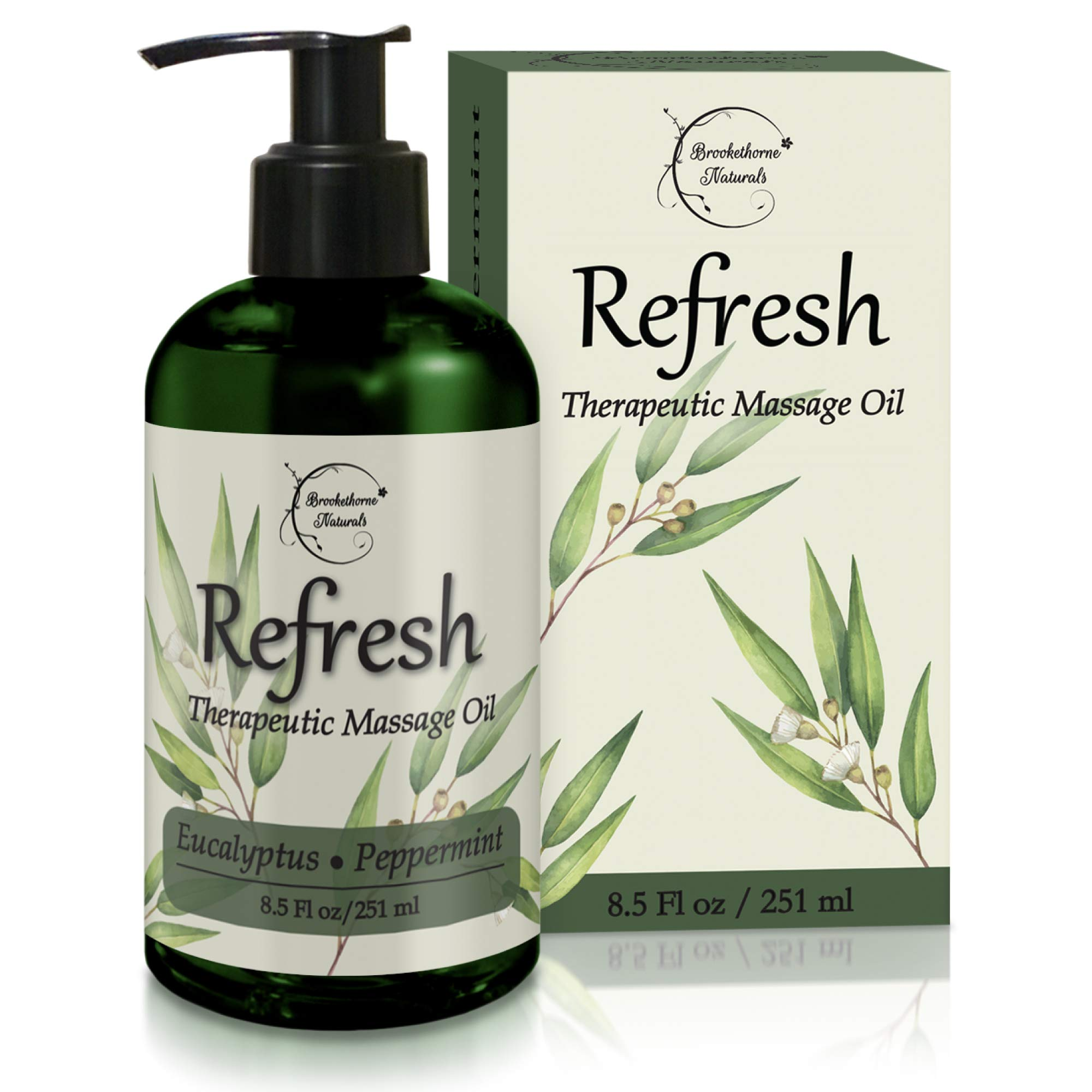 Refresh Massage Oil with Eucalyptus & Peppermint Essential Oils - Great for Massage Therapy. Stress Relief & All Natural Muscle Relaxer. Ideal for Full Body Massage - Nut Free Formula 8.5oz by Brookethorne Naturals