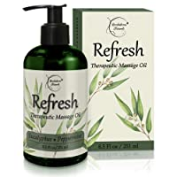 Refresh Massage Oil with Eucalyptus & Peppermint Essential Oils - Great for Massage...