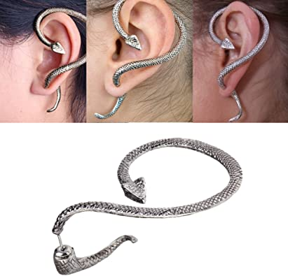 Sterling Silver Snake Earring Ear Cuff Non-Pierced Unique Gothic Punk