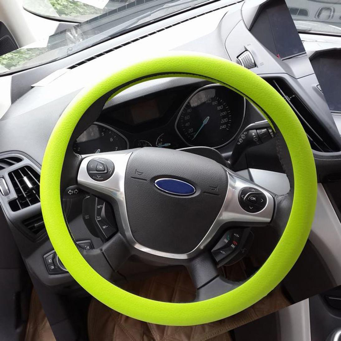 Orange Gessppo Anti-Slip Steering Wheel Cover Auto Car High Elastic Silicone Universal Steering Cover for Diameter 32-40cm//12-16inch