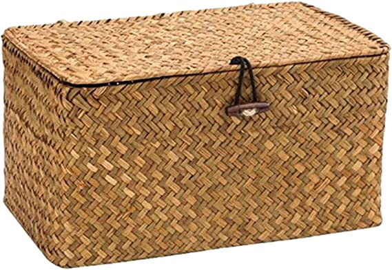 WOOD MEETS COLOR Cuadrado Cesto de Almacenaje de Mimbre Caja de Almacenaje con Tapa 24cmx14cmx13cm (Original): Amazon.es: Hogar