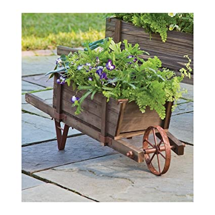 Small Solid Wood Wheelbarrow Planter With Functional Wheel