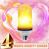 Flame Light Bulb LED Flickering Effect | Decorative Artificial Fire Lamp 105 LED Lights | 4 Flame Effect Modes - 50,000Hour Life w/ Gravity Sensor E26 Base | Great Decoration Household Lighting Gifts