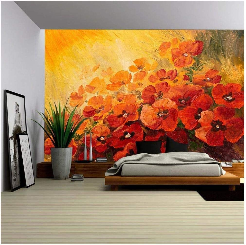Wall26 Oil Painting Abstract Illustration Of Poppies On A Red Yellow Background Wallpaper Removable Wall Mural Self Adhesive Large Wallpaper 100x144 Inches Amazon Com
