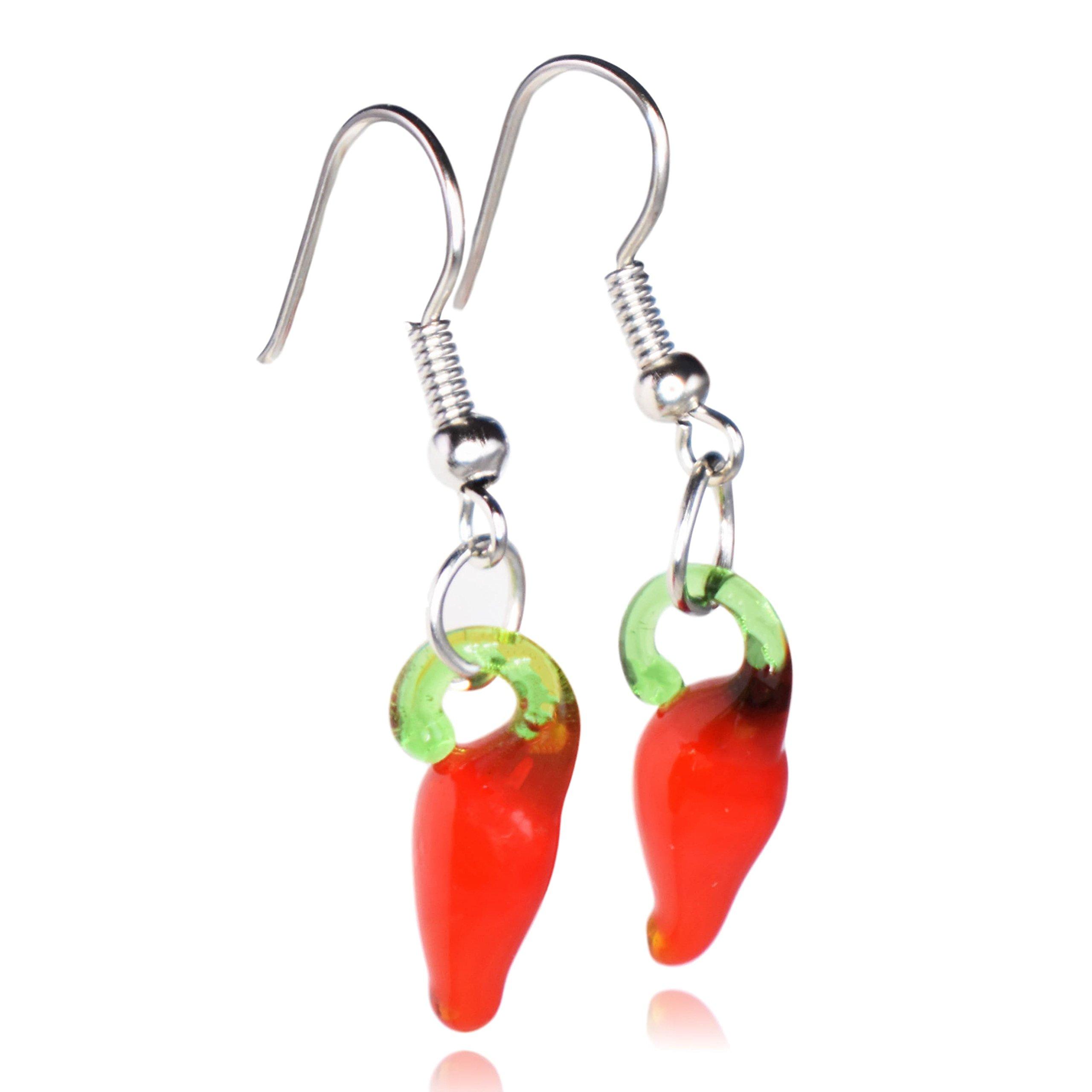 Glass Chili Pepper Dangle Earrings (Small)