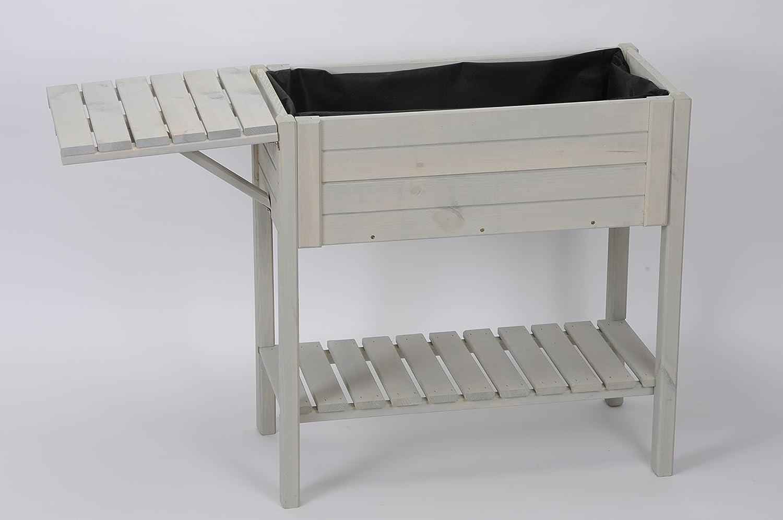 praktischer und dekorativer Pflanz-Tisch Hochbeet aus Holz für Balkon und Terrasse Landhaus-Gartenmöbel