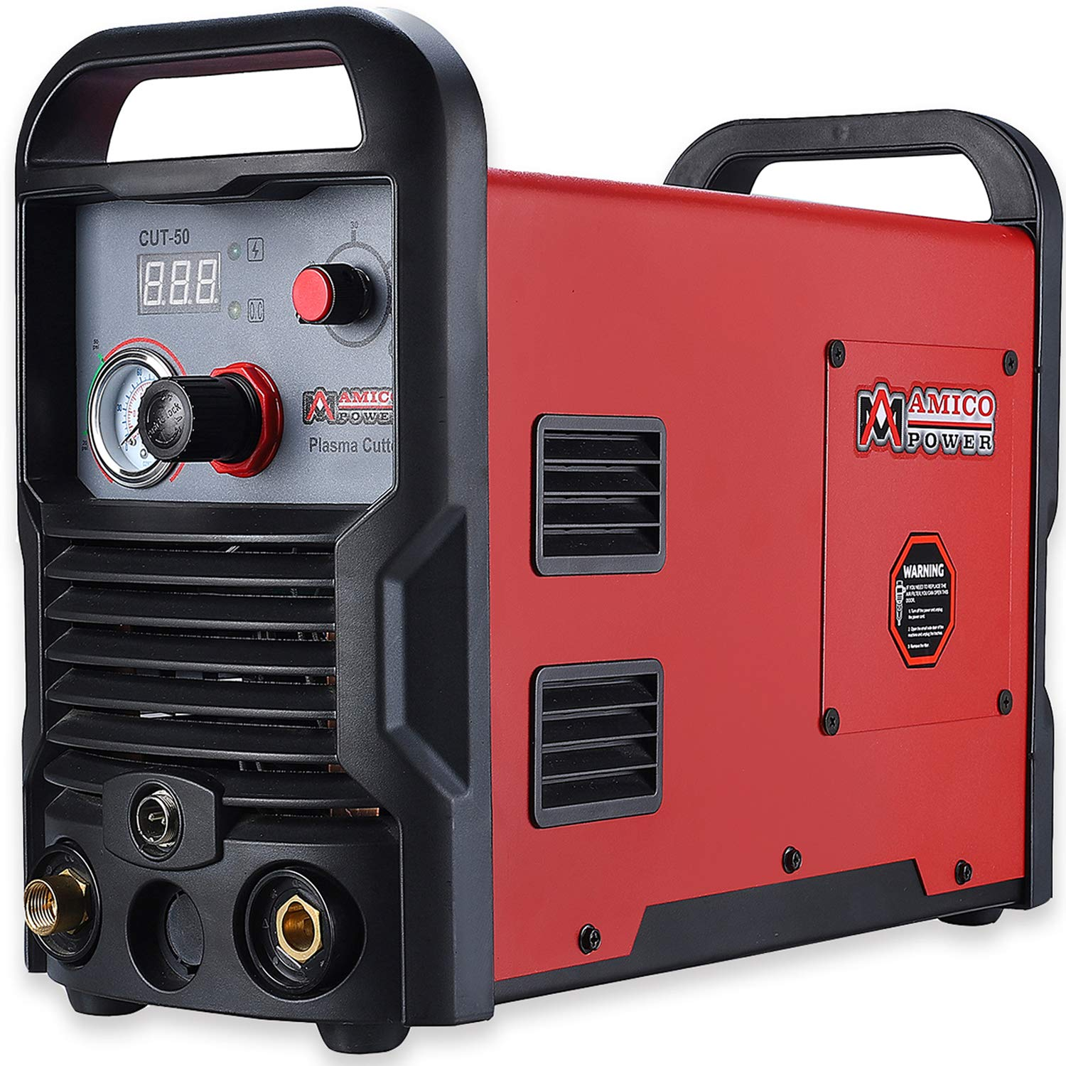 CUT-50, 50 Amp Pro. Plasma Cutter, DC Inverter 110/230V Dual Voltage Cutting Machine New by Amico (Image #1)