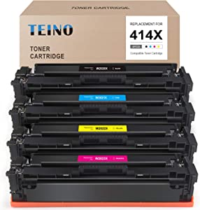 TEINO (No Chip) Compatible Toner Cartridge Replacement for HP 414X 414A W2020X W2021X W2022X W2023X use with Color Laserjet Pro MFP M479fdw M454d M454dn M479fdn (Black, Cyan, Magenta, Yellow, 4-Pack)