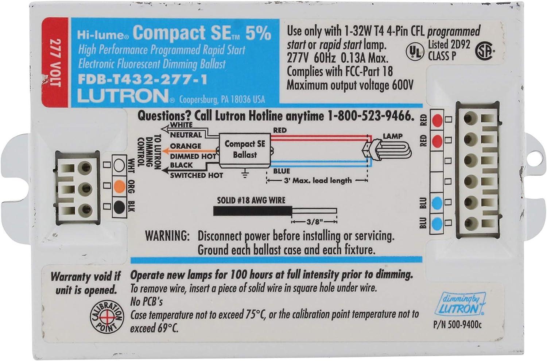 LUTRON Electronic CFL Rapid Dimming Ballast FDB-T432-120-1-S  EC3DT4MWKU1S