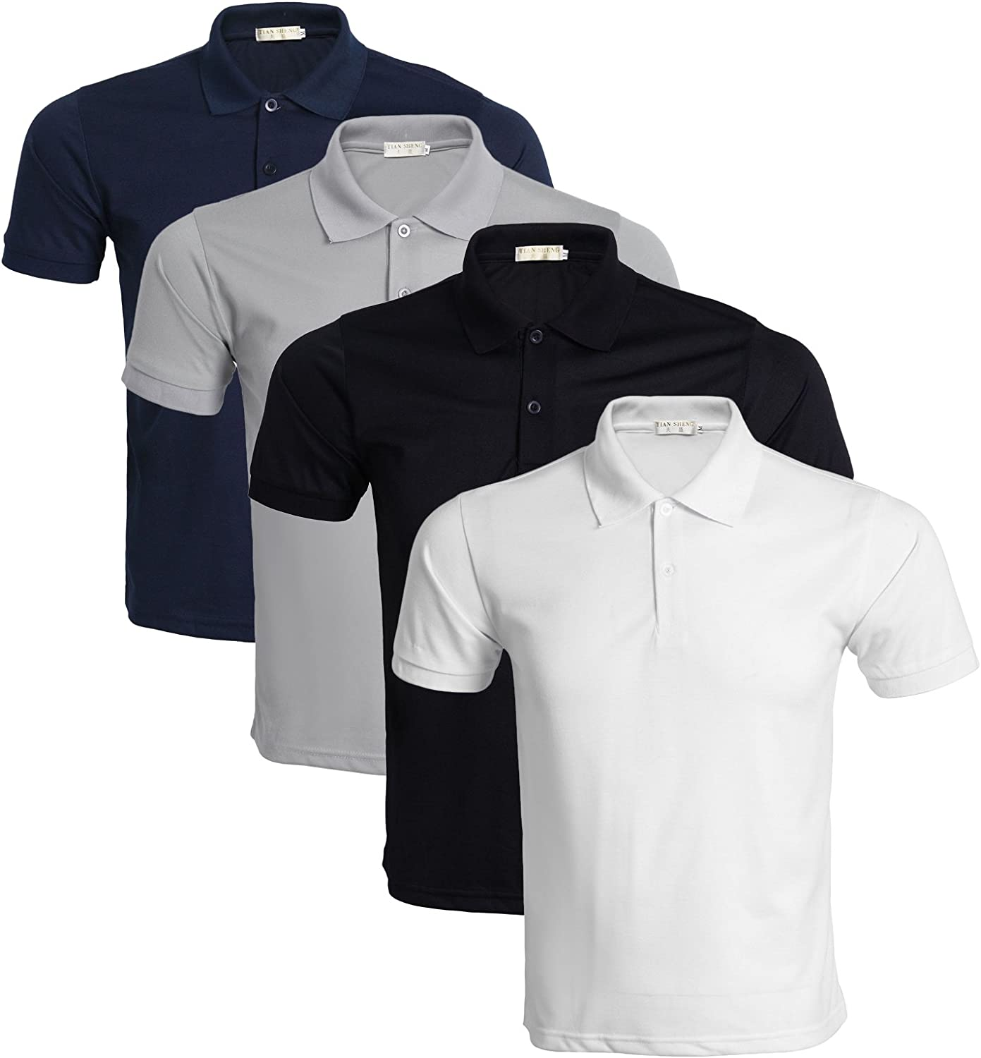 Pack of 3//4//5 LEOCLOTHO Mens Polo T-shirt Cotton Short Sleeve Casual Pure Color Tee Tops