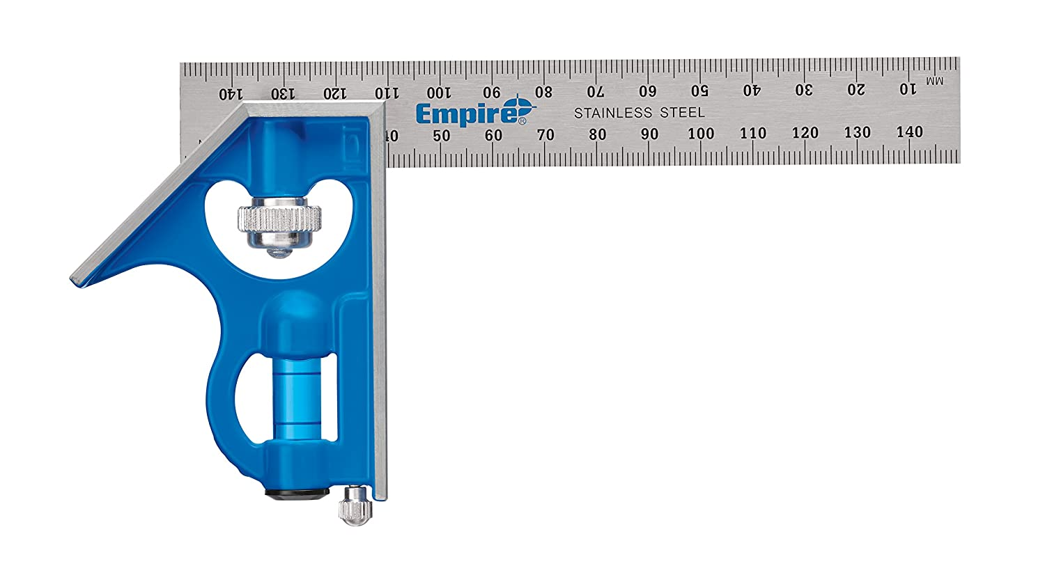 Empire Level E255M 6 Inch Pocket Combination Square With Stainless Steel Blade Metric Graduations and True Blue Vial