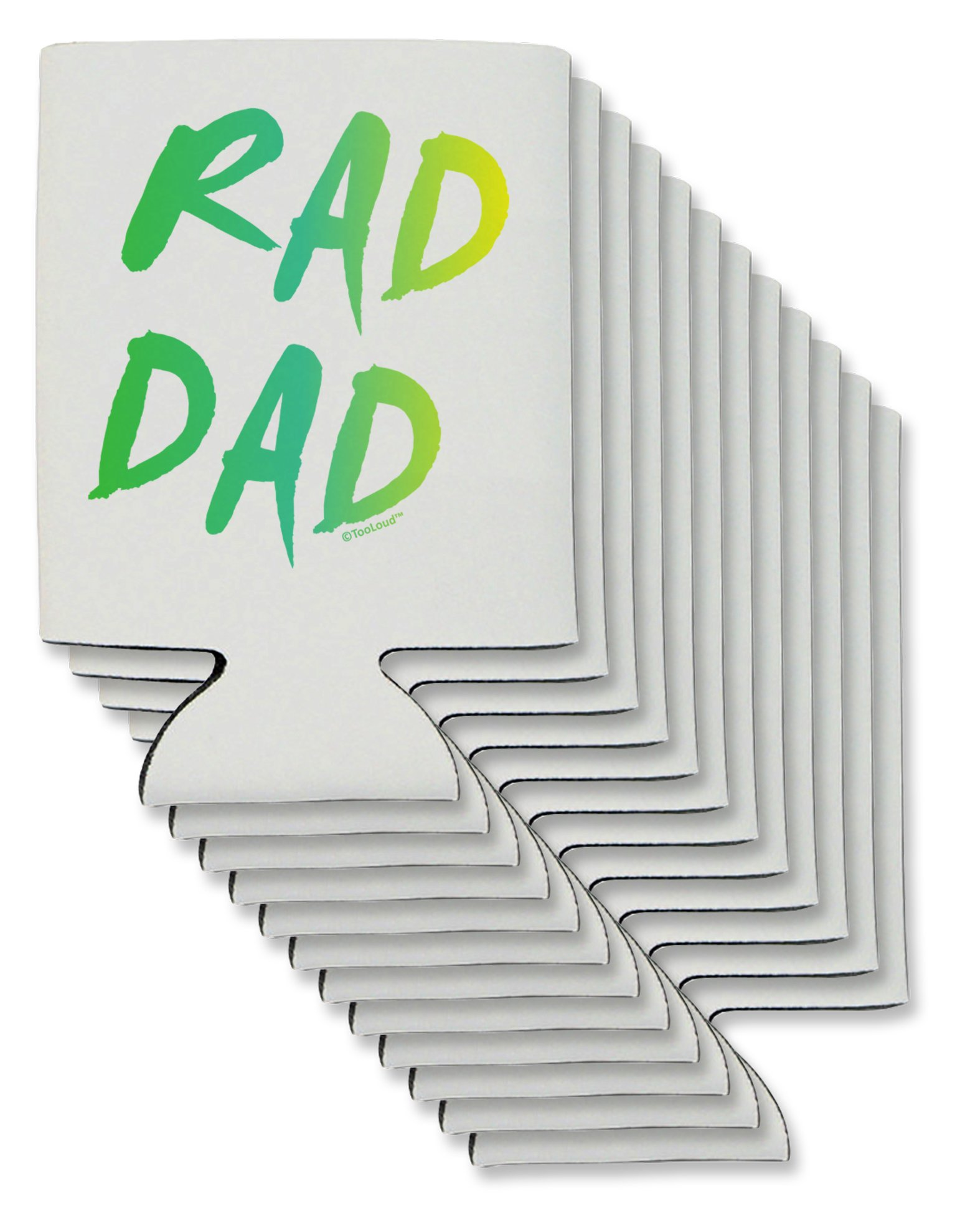 TooLoud Rad Dad Design - 80s Neon Can/Bottle Insulator Coolers - 12 Pieces
