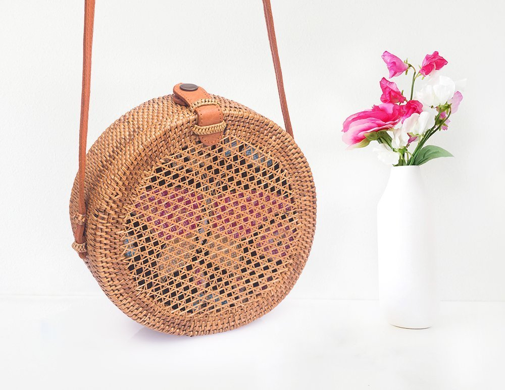 Beautiful Round Straw Bag With Net Pattern - Trendy Wicker Bag For This Summer