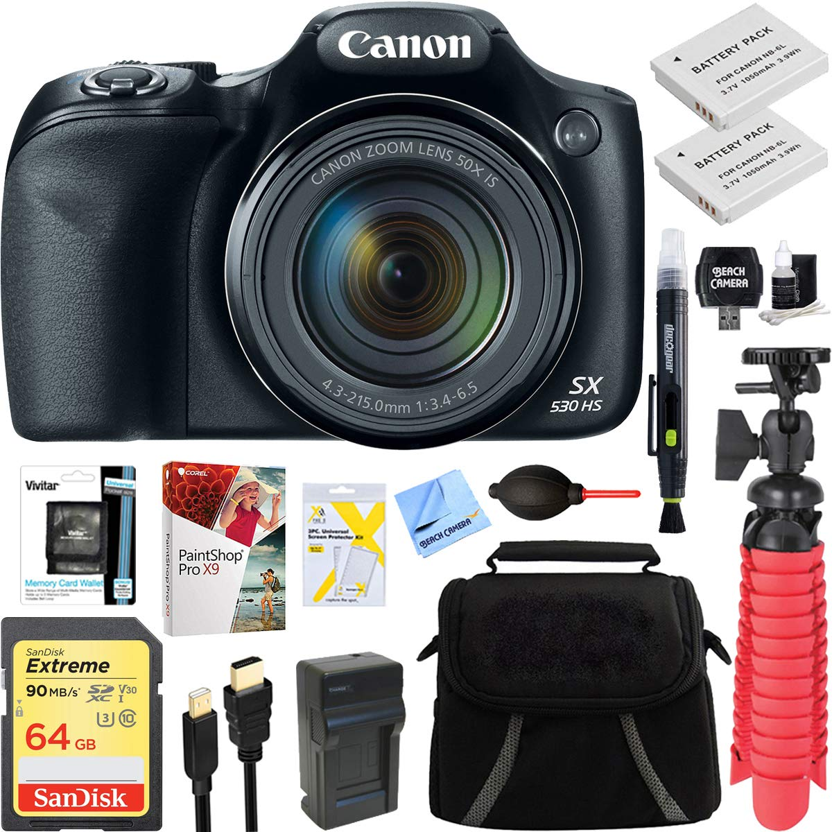 Canon PowerShot SX530 HS 16.0 MP 50x Optical Zoom Digital Camera (Black) + Two-Pack NB-6L Spare Batteries + Accessory Bundle by Canon