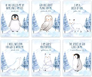 Andaz Press Christian Bible Verses Quotes Nursery Kids Bedroom Unframed Hanging Wall Art Poster Decor, 8.5x11-inch, Arctic Snow Animals Mountain Theme, I Am a Child of God, Penguin, 6-Pack, No Frames
