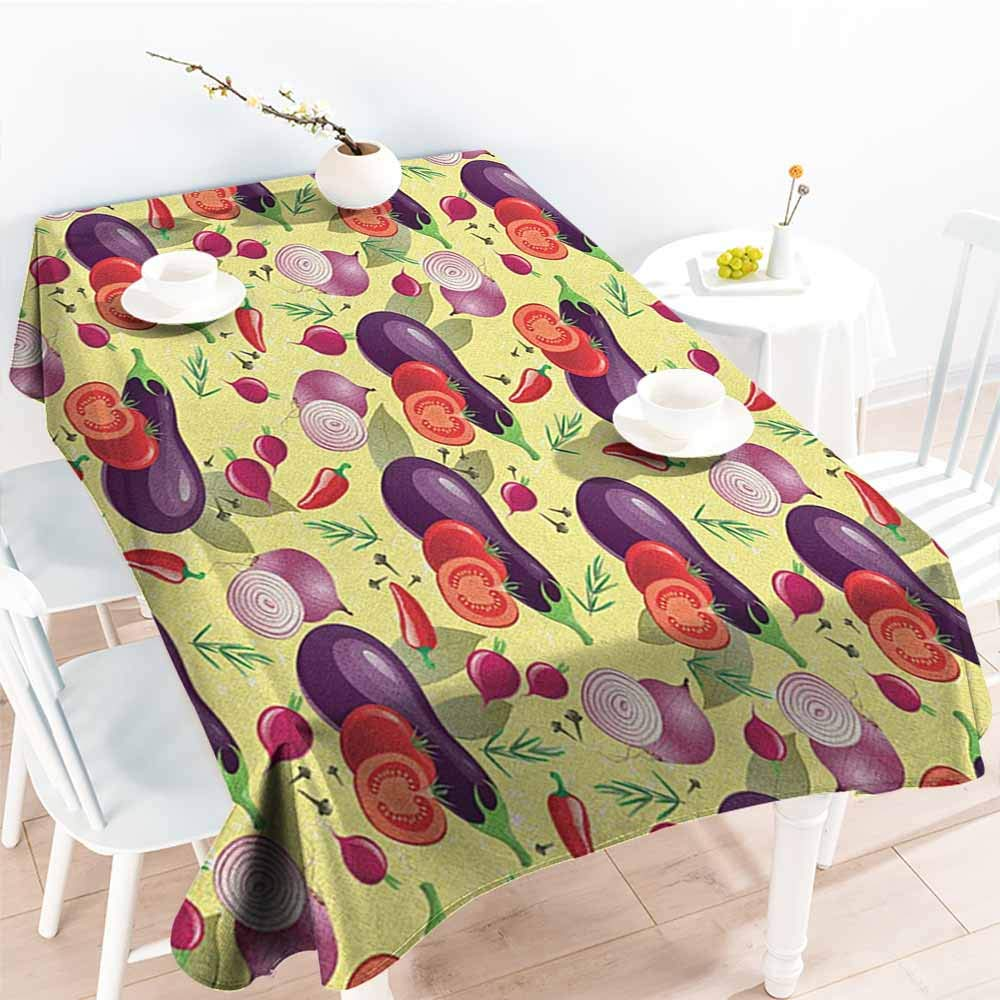 Willsd Outdoor Tablecloth Rectangular,Eggplant Eggplant Tomato Relish Onion Going Green Eating Organic Tasty Preserve Nature,Fashions Rectangular,W60X102L Multicolor by Willsd