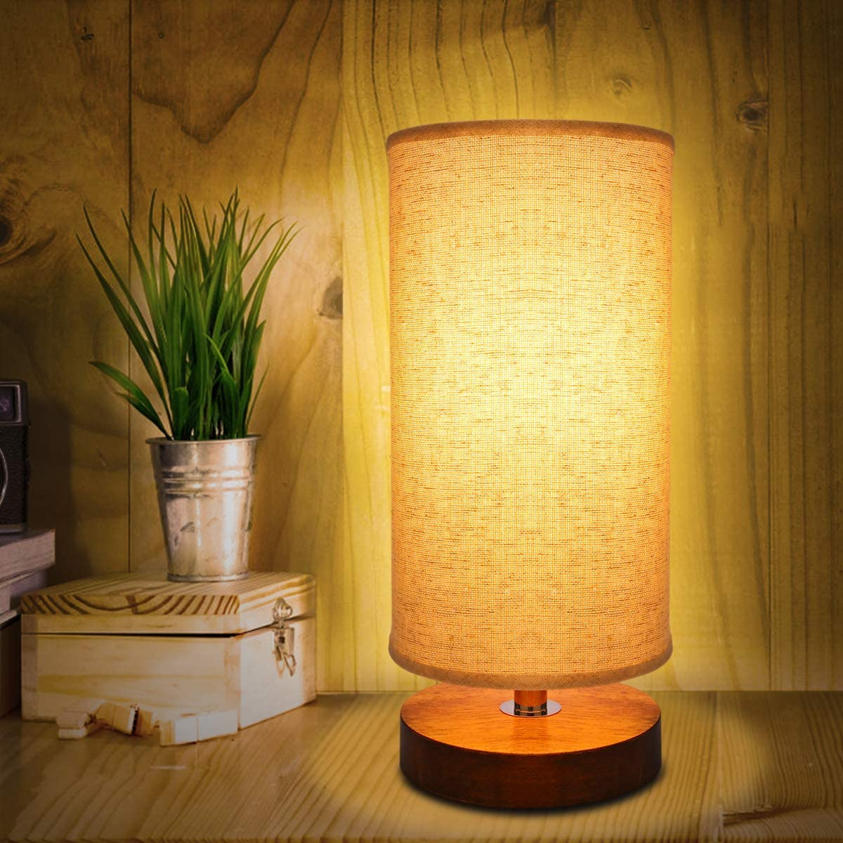 Round Table Lamp With Wooden Base