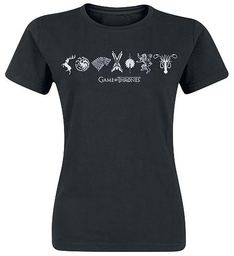 Game Of Thrones Juego de Tronos Horizontal Sigils Camiseta Mujer Negro