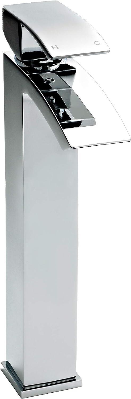 Nuie TSI303 Vibe 154mm x 230mm Chrome Modern Bathroom Deck Mounted Square Bath Filler Tap