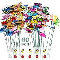 SNAILGARDEN Juego de 60 Estacas de Mariposas de Jardín, Mariposas de Jardín, Libélulas, Adornos de Mariquita en Palos…