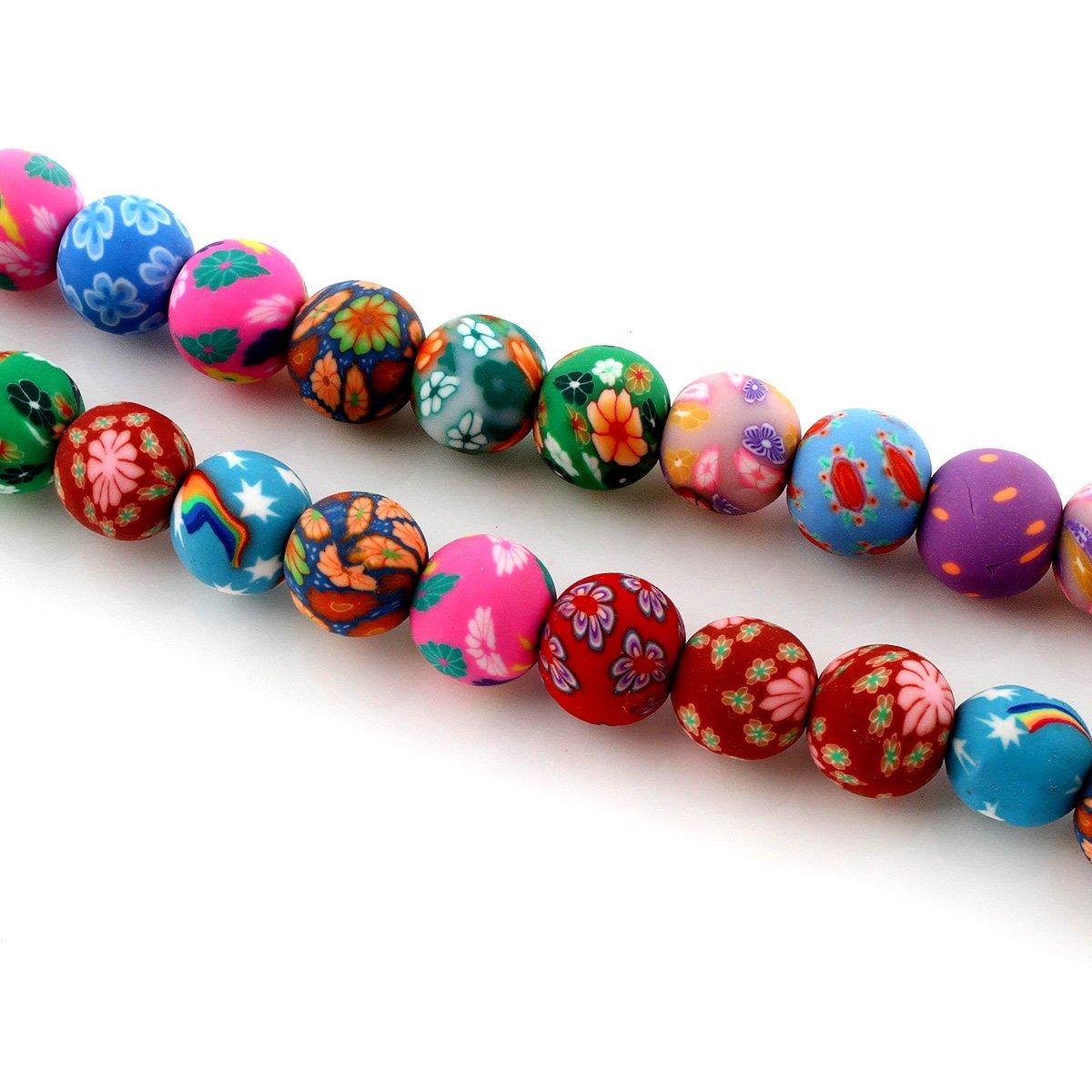 35 FIMOKETTE FIMO Perlen Kette Polymer Clay Rund 12mm Mischfarben Halskette R125