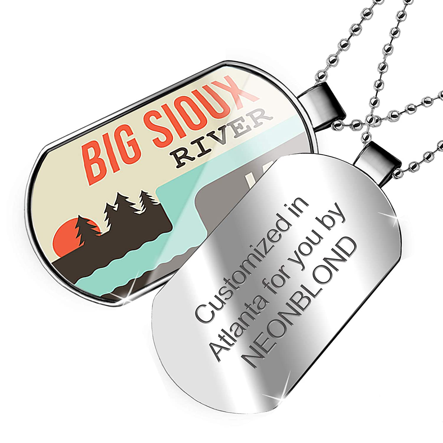 Iowa Dogtag Necklace NEONBLOND Personalized Name Engraved USA Rivers Big Sioux River