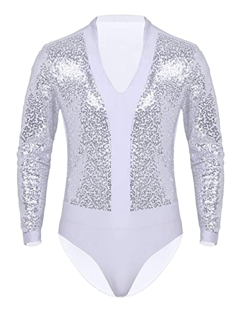 CHICTRY Maillot Hombre Lentejuelas Brillantes Slim Body Mangas ...
