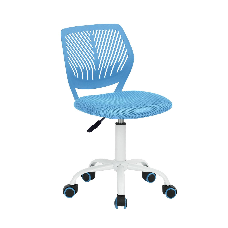 FurnitureR UK Bürostuhl, drehbar, verstellbar, Armlos, mit Kreuzstern-Mittellehne, Computer-Schreibtischstühle - blau