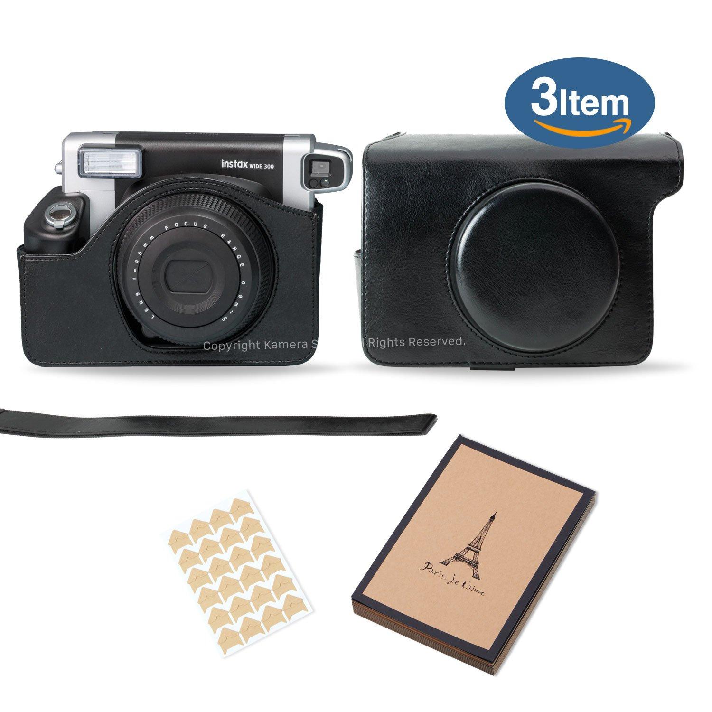 Kamera 3 in 1 Fujifilm Instax wide 300 Camera Accessory Bundle (Wide 300 Case/Album/Corner stickers) (black)