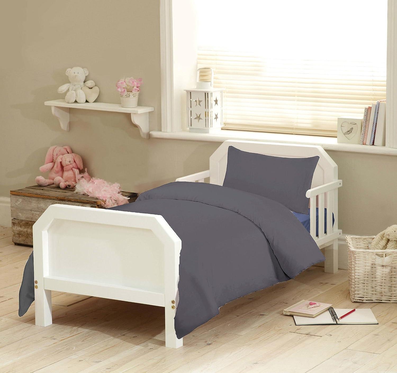 Nursery Bedding 300 TC Junior Toddler Cot Duvet Cover With Pillowcase Bed Set (Silver Grey) TTO