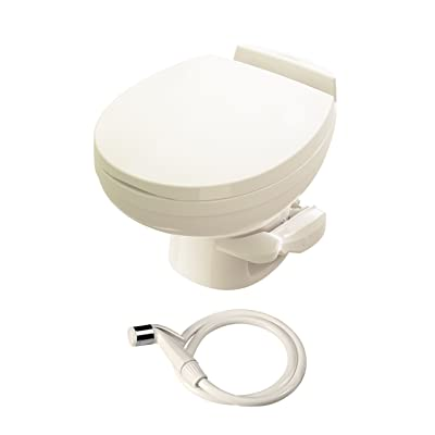 Aqua-Magic Residence RV Toilet with Hand Sprayer / Low Profile / Bone - Thetford 42176: Automotive