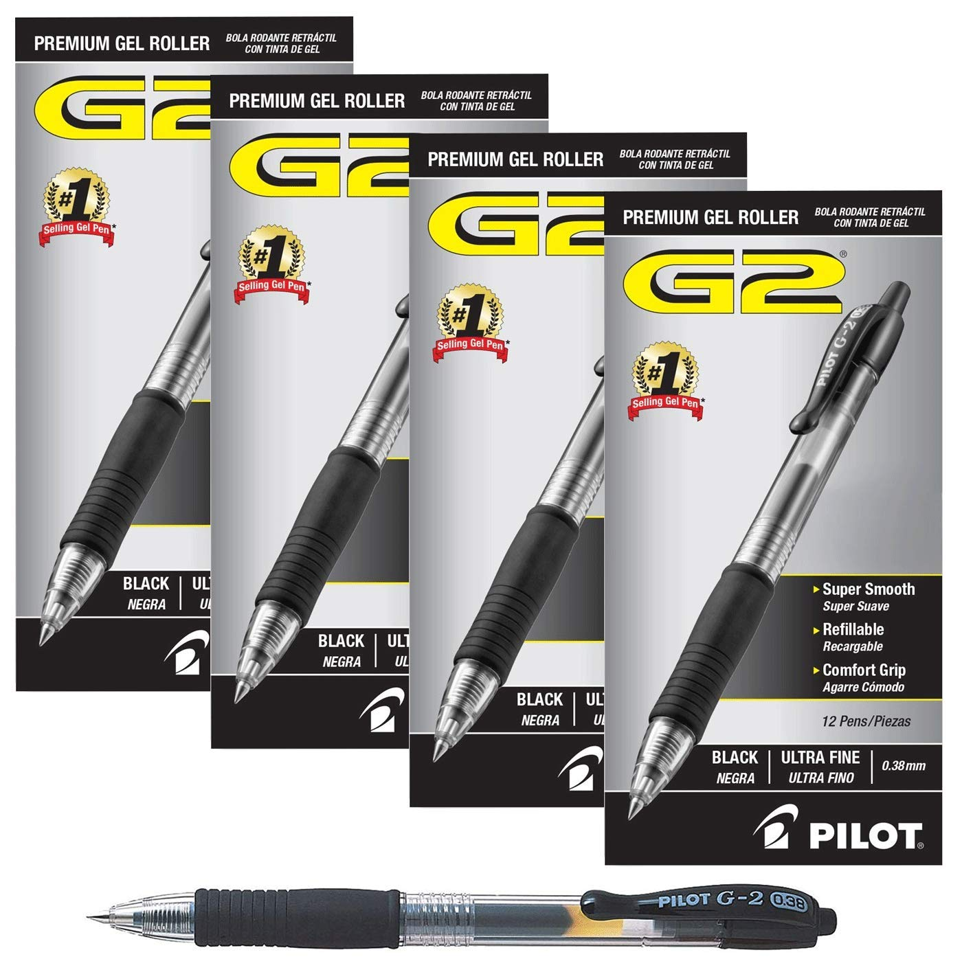 Pilot G2 Retractable Premium Gel Ink Roller Ball Pens Ultra Fine 4 Dozen Black ; Retractable, Refillable & Premium Comfort Grip; Smooth Lines to the End of the Page, America's #1 Selling Pen Brand